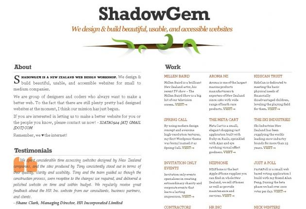 Shadowgem Web Design - Tony Xia